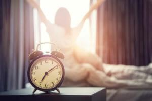 waking up in morning alarm clock