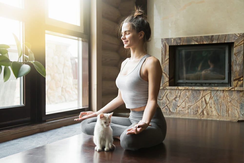 woman meditating inside with a kitten